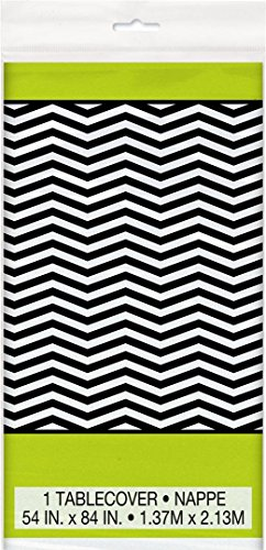 Unique Industries BB45713 Lime-Black Chevron Plastic Table Cover -Each - 1