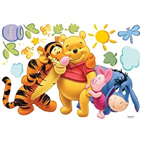 Giant winnie the pooh friends peel stick nursery kids for Baby pooh and friends wall mural