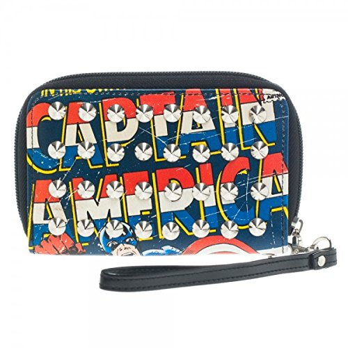 Captain America Studded Zip Around Wallet