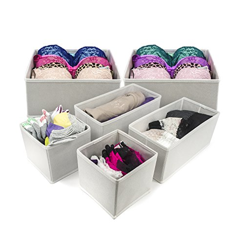 Sorbus® Foldable Storage Drawer Closet Dresser Organizer - 6 Piece Set (White) (Foldable Drawer Storage Unit compare prices)