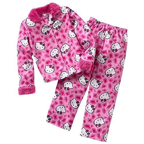 Hello Kitty Little Girls' Long Flannel Pajama Set (6) front-29591