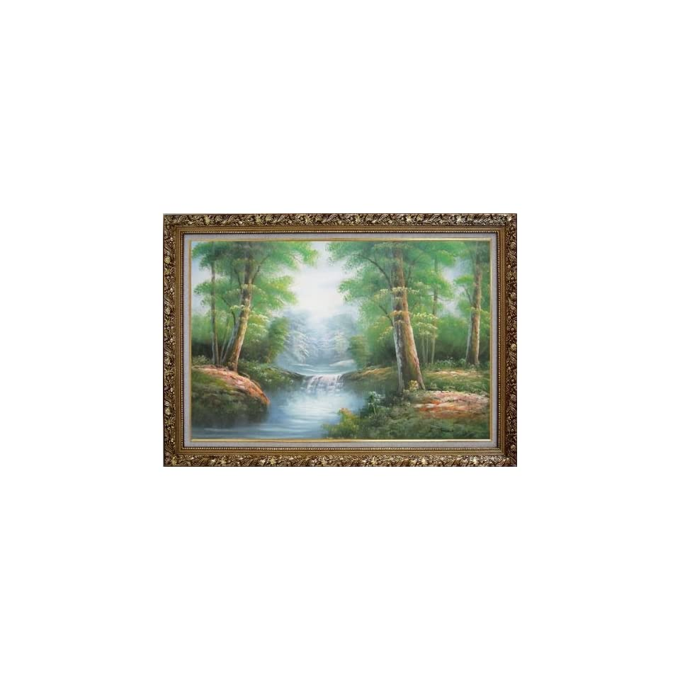 Mountain Water Cascade in Early Spring Oil Painting, with Ornate Antique Gold Wood Frame 30 x 42 inches