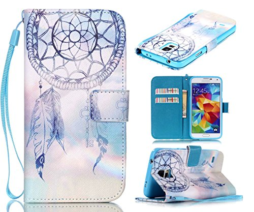 S5 Case, Galaxy S5 Case, ArtMine Dream Catcher PU Leather [Wristlet] Wallet Pouch Phone Case with Wrist Strap and Credit/ID Card Cash Slot for Samsung Galaxy S5 (Galaxy S5 Cool Wallet Case compare prices)
