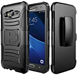 Galaxy J7 Case, ATUS - Hybrid Armor Kickstand Swivel Belt Clip Holster With Tempered Glass Screen Protector and Stylus Pen