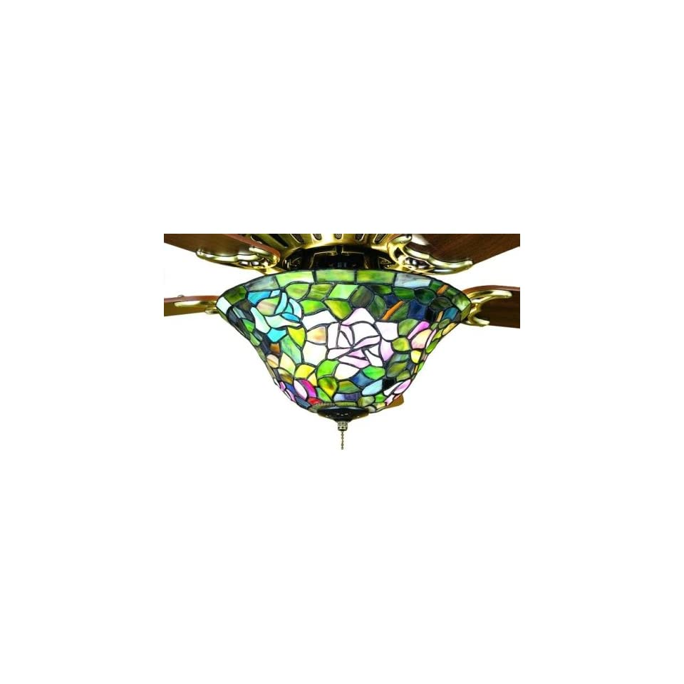 Rosebush Tiffany Stained Glass Ceiling Fan Light Kit 12 Inches W