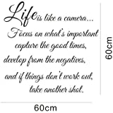 Life is Like a Camera - Wall Decal Quote Wall Saying Wall Vinyl Stickers