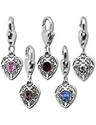 HooAMI 10 Mixed Love Heart Clip On Charms Fit Chain Bracelet