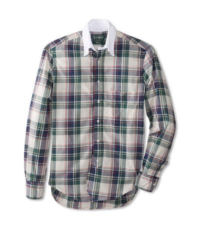 Gitman Vintage Men's Madras Plaid With Contrast Collar Shirt