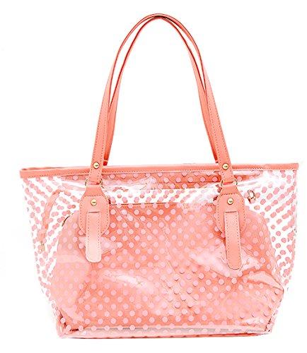 Semi-Clear Beach Wallet Swimming Tote Shoulder Bag Airport Work Bag Lunch Bag (Pink)
