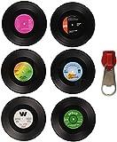 Vintage Vinyl Record Beverage Coasters Set (6 drink Coasters for wine, beer, hot and cold drinks) Including zipper bottle opener