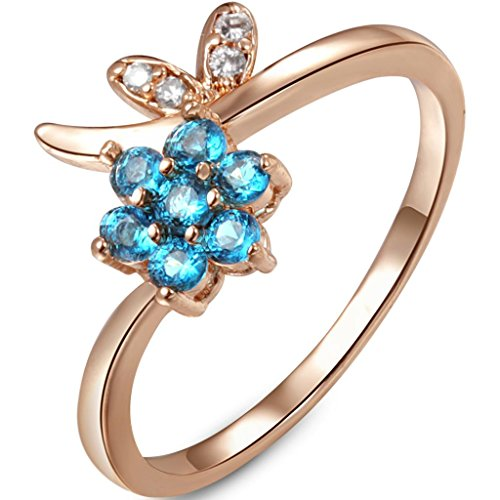 Fallon 18K Rose Gold Plated Blue Zirconia Flower 7 Engagement Ring 8326211-1