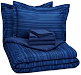 AmazonBasics 7-Piece Bed-In-A-Bag - Full/Queen, Royal Blue Calvin Stripe