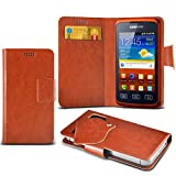 (Brown) Samsung S5690 Galaxy Xcover Protective Mega Thin Faux Leather Suction Pad Wallet Case Cover Skin With Credit/Debit Card Slots Aventus