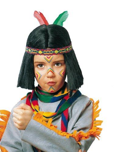 Indianer Pagenkopf Kinder Perücke mit Band schwarz bunt