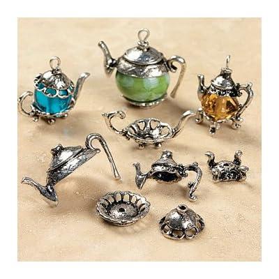 silvertone metal teapot bead caps beading