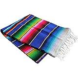 Del Mex (TM) X-large Mexican Serape Blanket Sarape Blue