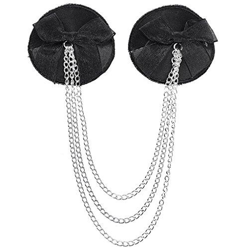 e4ef32b61cb Ayliss Sexy Black Chain Tassel Satin Nipple Cover Petals - Import It All