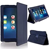 NSSTAR Folio Stand Faux Leather Case Cover Flip Protection Guard Case Cover Only for Q88 7 Inch Android Tablet (Dark Blue)