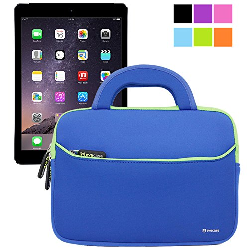 Evecase iPad Air 2 Case Bag, UltraPortable Handle Carrying Portfolio Neoprene Sleeve Case Bag for Apple iPad Air 2 (iPad 6) / iPad Air (iPad 5), iPad 4, iPad 3, and iPad 2 - Blue