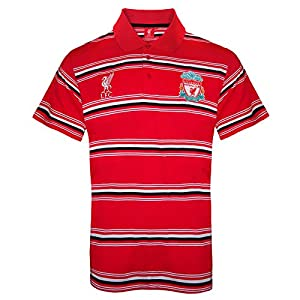 Liverpool FC Official Football Gift Mens Striped Polo Shirt Red Large by Liverpool FC