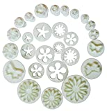 Outop 10 Sets (33 Pcs) Plunger Cutters Sugarcraft Cake Decorating (Heart, Veined Butterfly, Star, Daisy, Veined Rose Leaf ,Carnation, Blossom, Flower, Sunflower , Other)