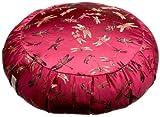 DreamTime Perfect Balance Zafu Cushion, Cranberry Brocade Dragonflies