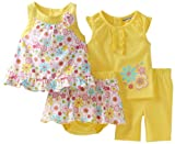 Babyworks Baby-Girls Newborn 4 Piece Short Set, Yellow, 6-9 Months