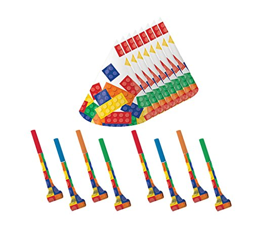 Building Block Party Cone Hats and Blowouts (8 Guests)