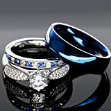 His and Hers 925 Sterling Silver Blue Saphire Stainless Steel Wedding Rings Set Blue #SP24BLMSBL (Size Men 10; Women 7)
