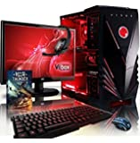 """VIBOX Sharp Shooter Package 7 - 4.0GHz Quad Core, GTX 750, 1TB, 16GB, Extreme, Online, Gaming, Gamer, Desktop PC, Computer Full Package with Windows 10 Operating System, WarThunder Game Bundle, 22"""" Monitor, Gamer Headset, LED Keyboard & Mouse Bundle and Neon Red Internal Lighting Kit PLUS a Lifetime Warranty Included* (4.0GHz AMD Quad Core Processor, 1GB Nvidia Geforce GTX 750 Graphics Card PSU, 1TB HDD Hard Drive, 16GB 1600MHz RAM)"""