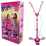 Childrens Girls Pink Karaoke Double Twin Microphone Toy Light Up Music Songs