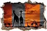 Pixxp/3D _ WD _ 5279 _ 62x42 African Giraffe Sunset Wall Breakthrough 3D Wall Art Sticker Vinyl Quote Bedroom Lounge Kids - Black/White, 62 x 42 x 0.02 cm