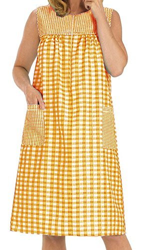 Womens Sleeveless Zipper Gingham Shift House Dress Duster ,Orange,L