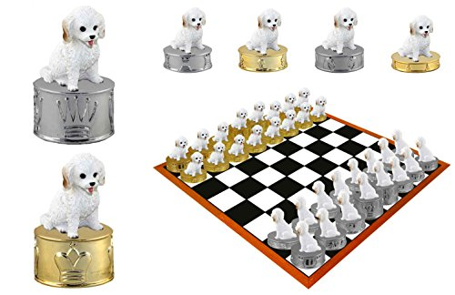 White Cockapoo Dog Hand-painted Chess Set Pieces