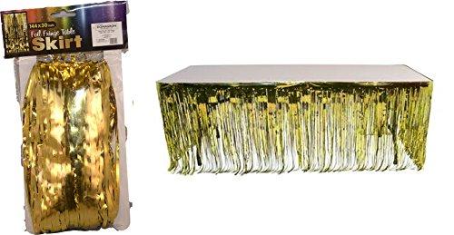 """Gold Metallic Foil Fringe Table Skirt - 144"""" X 30"""" - 1"""