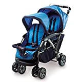 Foundations Duo Double Tandem Baby Stroller, Blue & Free Premium Stainless Steel Locking Tongs