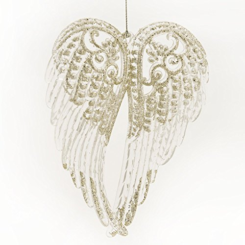 Angel Wings Silver-Colored Glitter Resin Hanging Christmas Ornament (Resin Wings compare prices)