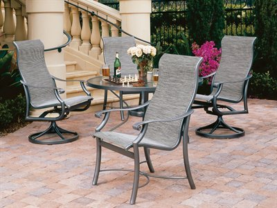 Tropitone montreux sling patio aluminum dining set price for Metal patio sets for sale
