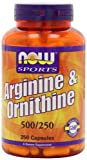 NOW Foods L-arginine/ornithine, 500mg/250mg, ( 250 Capsules )