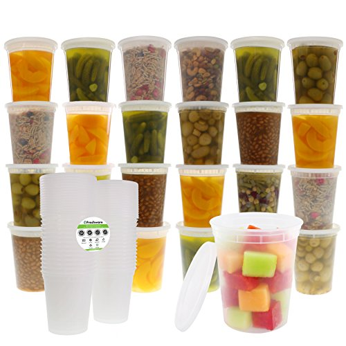 Freshware Food Storage Containers with Lids [24 Pack, 32oz] - Plastic Containers, Deli, Slime, Soup, Meal Prep Containers | BPA Free | Stackable | Leakproof | Microwave/Dishwasher/Freezer Safe