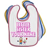 Little Sister with Big Brother Personalised Baby Bib Blue Pink Yellow or White