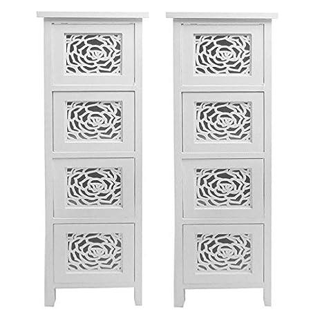 Set de 2Slim blanco armario de unidad de almacenamiento de 4cajones, diseño de flores