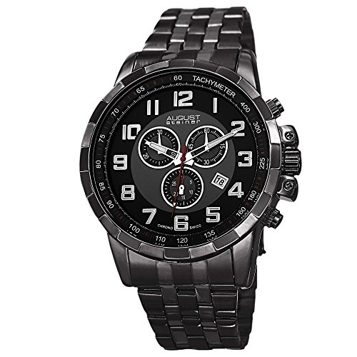 August Steiner Men's Swiss Quartz Watch with Black Dial Chronograph Display and Black Stainless Steel Bracelet AS8118BK