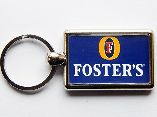 fosters-label-alcohol-beer-drink-quality-chrome-keyring-picture-on-each-side