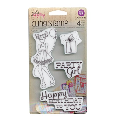Prima Marketing Mixed Media Doll Cling Rubber Stamps, Party Girl Set - 1