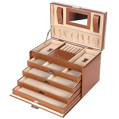 Songmics Brown Leather Jewelry Box Lockable Travel Storage Case with Mirror and Drawers UJBC002C