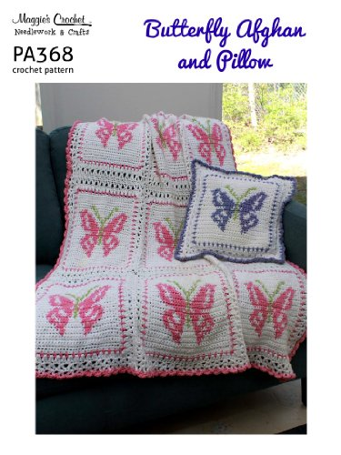 Crochet Pattern Butterfly Afghan and Pillow PA368-R