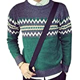 (ベルク)VELUC メンズ セーター ニット メンズセーター 長袖 ラウンドネック Uネック プルオーバー アーガイル チェック 幾何学模様 千鳥格子 タータンチェック 柄 M/L/XL/2XL (グリーン2XL) ~ オリジナルメッセージカードセット ~
