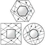 Elements Web Jewel Mirrors, Black, Set Of 3