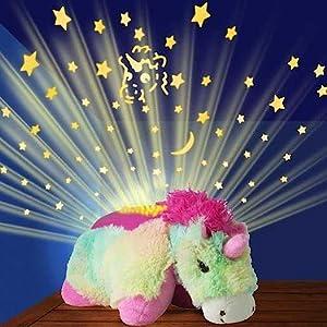 KIDS CUDDLY PET PILLOW CUSHION WITH NIGHT LIGHTS ANIMAL CUDDLE TOY UNICORN NEW